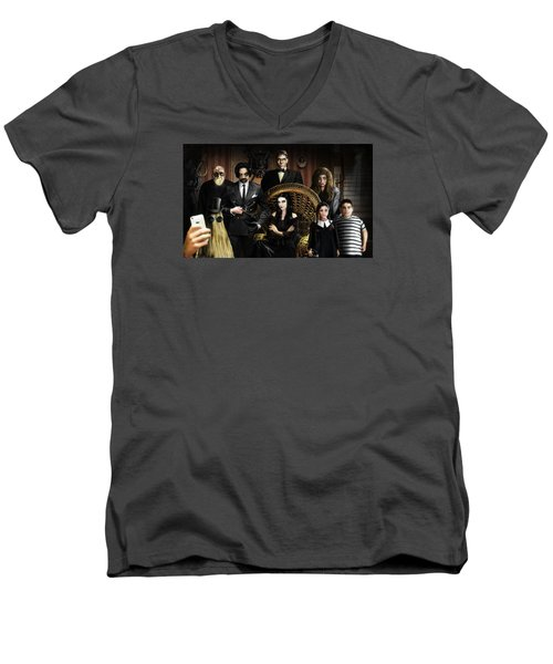 The Addams Family Men's V-Neck T-Shirt by Alessandro Della Pietra