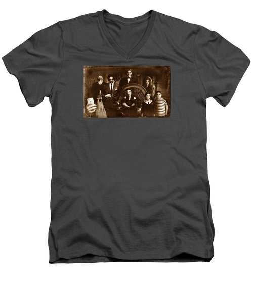 The Addams Family Sepia Version Men's V-Neck T-Shirt by Alessandro Della Pietra