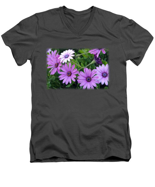 The African Daisy T-shirt 4 Men's V-Neck T-Shirt by Isam Awad