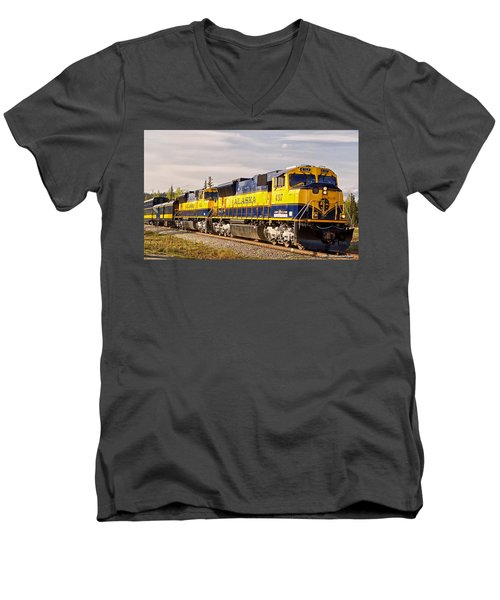 Men's V-Neck T-Shirt featuring the photograph The Alaska Railroad by Michael Rogers