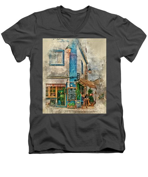 The Albar Coffee Shop In Alvor. Men's V-Neck T-Shirt by Brian Tarr