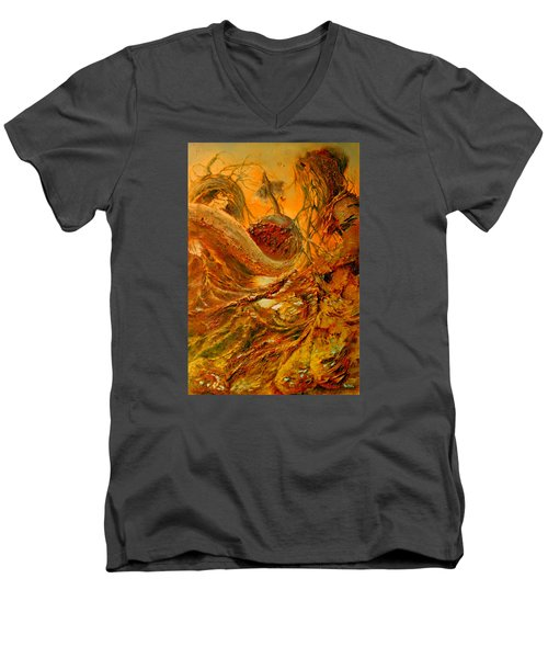 Men's V-Neck T-Shirt featuring the painting The Alchemist by Henryk Gorecki