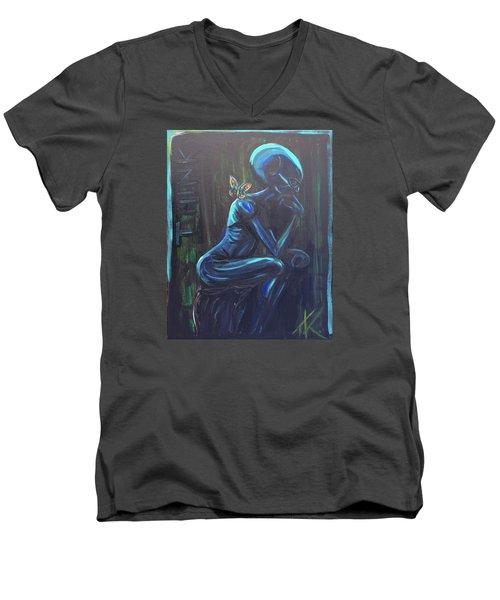 The Alien Thinker Men's V-Neck T-Shirt by Similar Alien