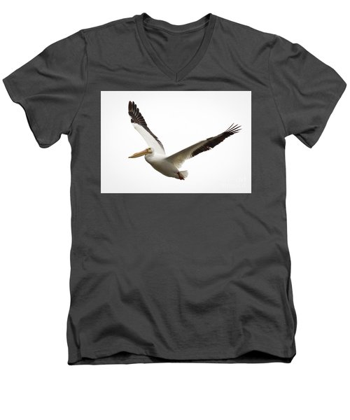 Men's V-Neck T-Shirt featuring the photograph The Amazing American White Pelican by Ricky L Jones