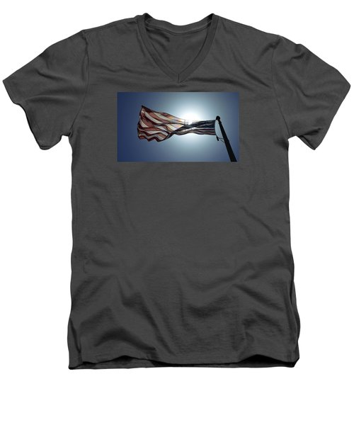Men's V-Neck T-Shirt featuring the photograph The American Flag by Alex King