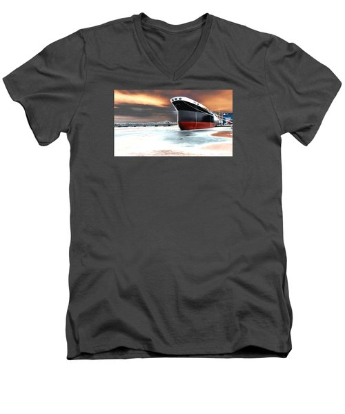 The Ship And The Steel Bridge. Men's V-Neck T-Shirt by Jake Whalen