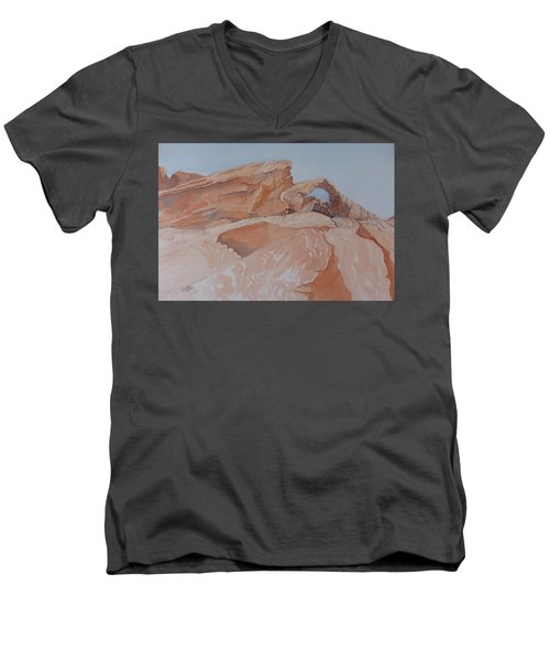 Men's V-Neck T-Shirt featuring the painting The Arch Rock Experiment - Vii by Joel Deutsch