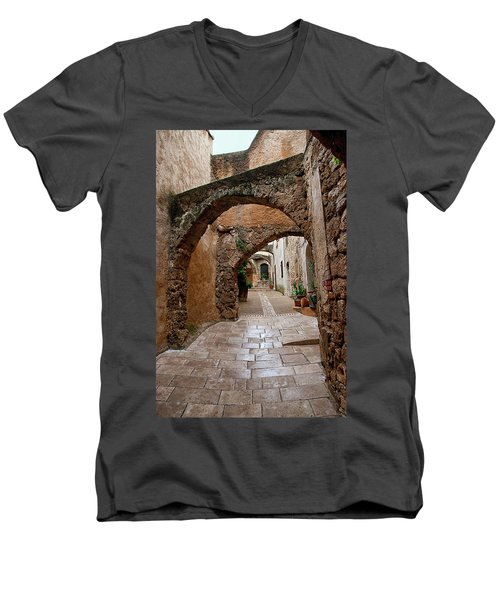 The Archways Of Villecroz Men's V-Neck T-Shirt by Jacqi Elmslie
