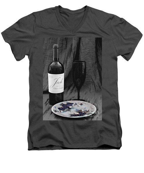 The Art Of Wine And Grapes Men's V-Neck T-Shirt by Sherry Hallemeier