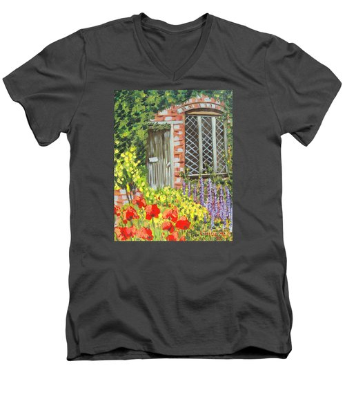 The Artist's Cottage Men's V-Neck T-Shirt by Laurie Morgan