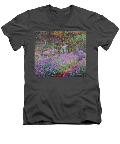The Artists Garden At Giverny Men's V-Neck T-Shirt