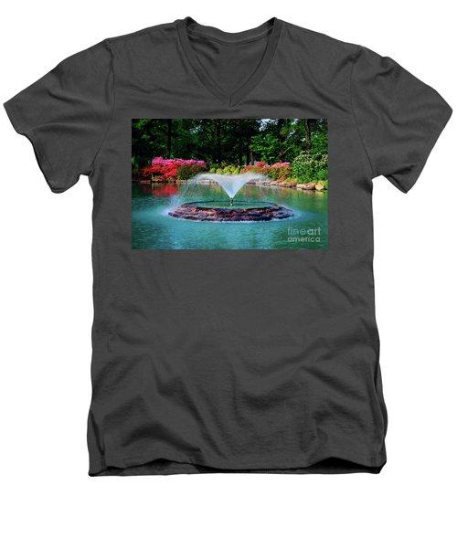 The Azalea Pond At Honor Heights Park Men's V-Neck T-Shirt