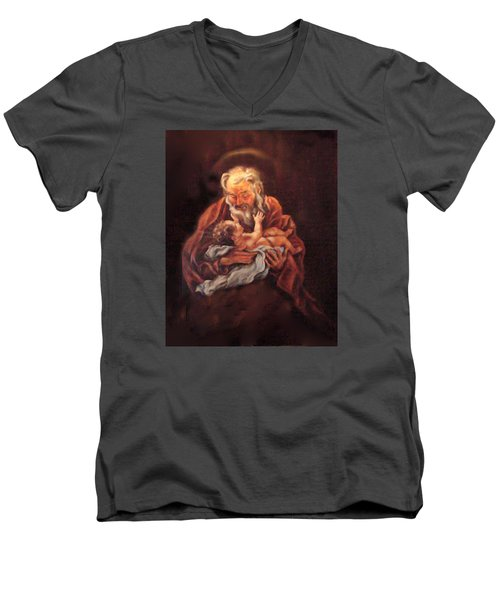 Men's V-Neck T-Shirt featuring the painting The Baby Jesus - A Study by Donna Tucker