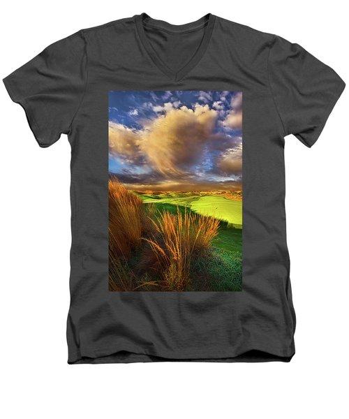 The Back Nine Men's V-Neck T-Shirt by Phil Koch