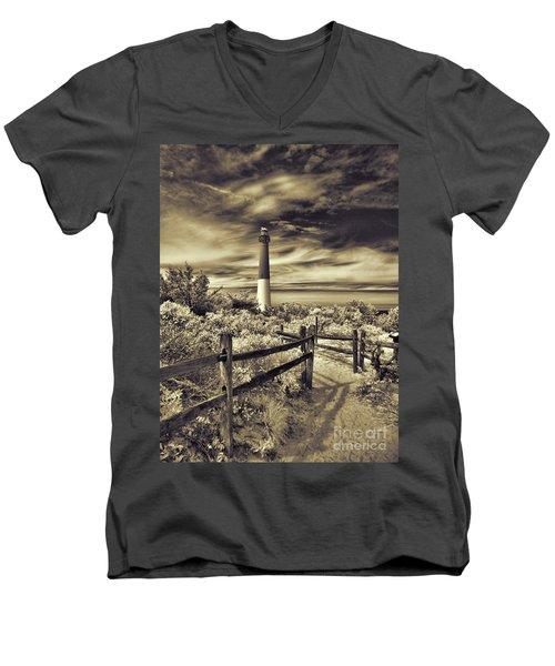 The Barnegat Lighthouse New Jersey Men's V-Neck T-Shirt