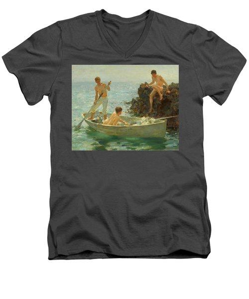 The Bathing Cove Men's V-Neck T-Shirt by Henry Scott Tuke