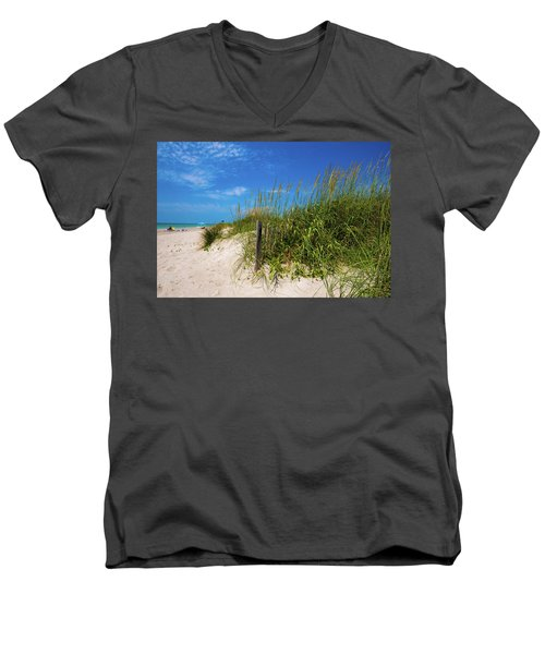 Men's V-Neck T-Shirt featuring the photograph The Beach At Pine Knoll Shores by John Harding