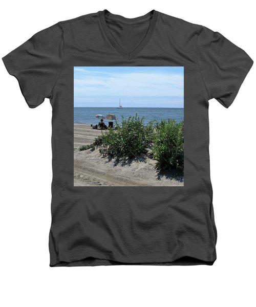 The Beach Men's V-Neck T-Shirt by John Scates