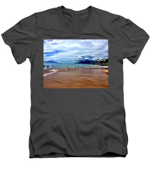The Beach Men's V-Neck T-Shirt by Michael Albright