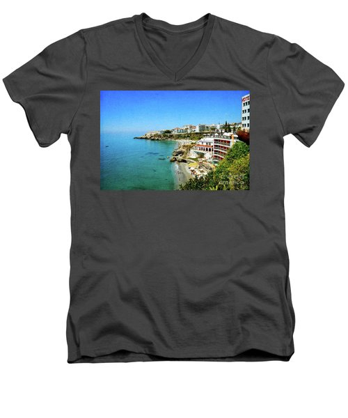 Men's V-Neck T-Shirt featuring the photograph The Beach - Nerja Spain by Mary Machare