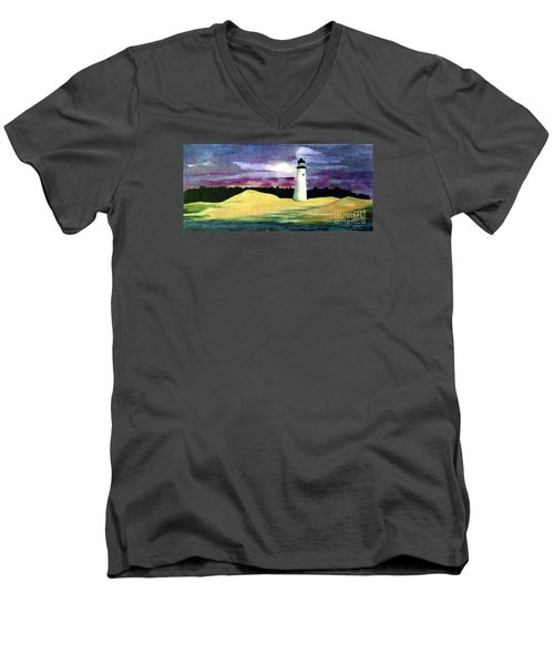 Men's V-Neck T-Shirt featuring the painting The Beacon by Patricia Griffin Brett