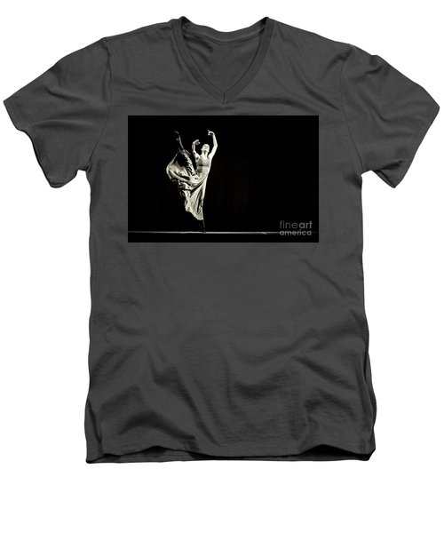 Men's V-Neck T-Shirt featuring the photograph The Beautiful Ballerina Dancing In Long Dress by Dimitar Hristov