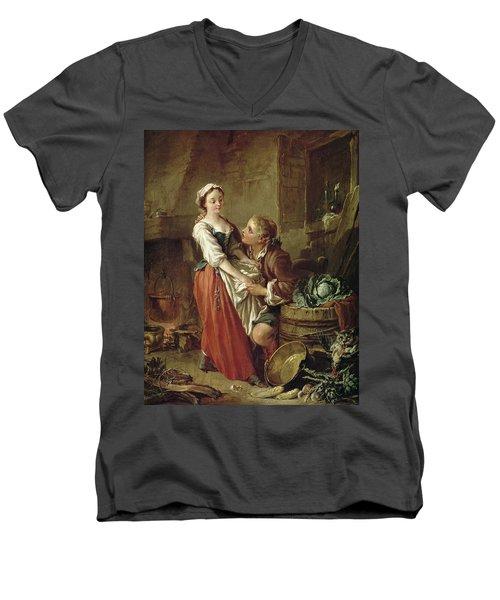 The Beautiful Kitchen Maid Men's V-Neck T-Shirt by Francois Boucher