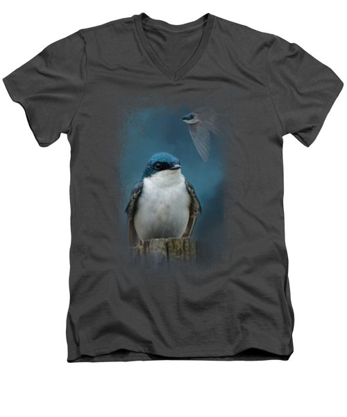 The Beautiful Tree Swallow Men's V-Neck T-Shirt by Jai Johnson