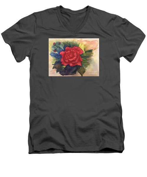 The Beauty Of A Rose Men's V-Neck T-Shirt by Lucia Grilletto
