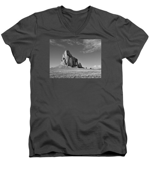 The Beauty Of Shiprock Men's V-Neck T-Shirt by Alan Toepfer
