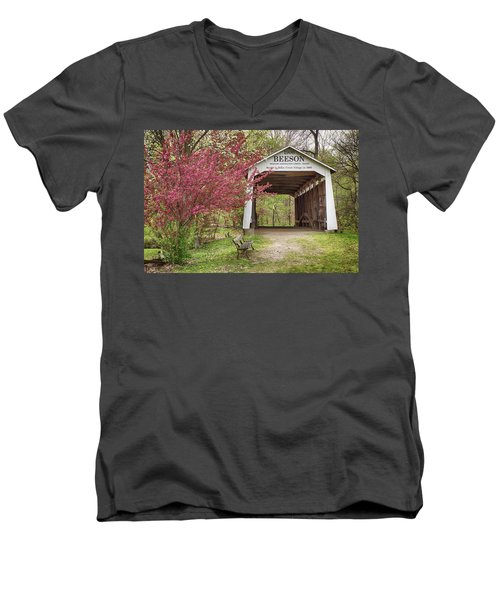 Men's V-Neck T-Shirt featuring the photograph The Beeson Covered Bridge by Harold Rau