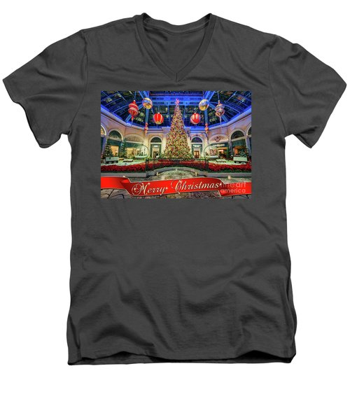 The Bellagio Conservatory Christmas Tree Card 5 By 7 Men's V-Neck T-Shirt