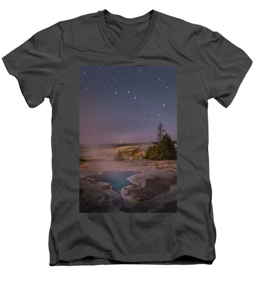The Big Dipper In Yellowstone National Park Men's V-Neck T-Shirt