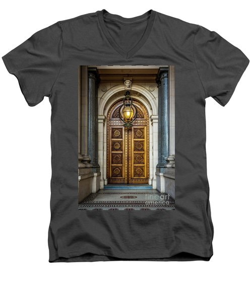 Men's V-Neck T-Shirt featuring the photograph The Big Doors by Perry Webster