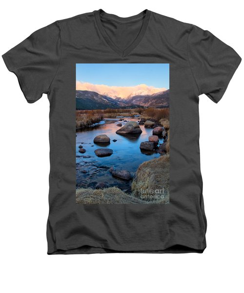 The Big Thompson River Flows Through Rocky Mountain National Par Men's V-Neck T-Shirt by Ronda Kimbrow