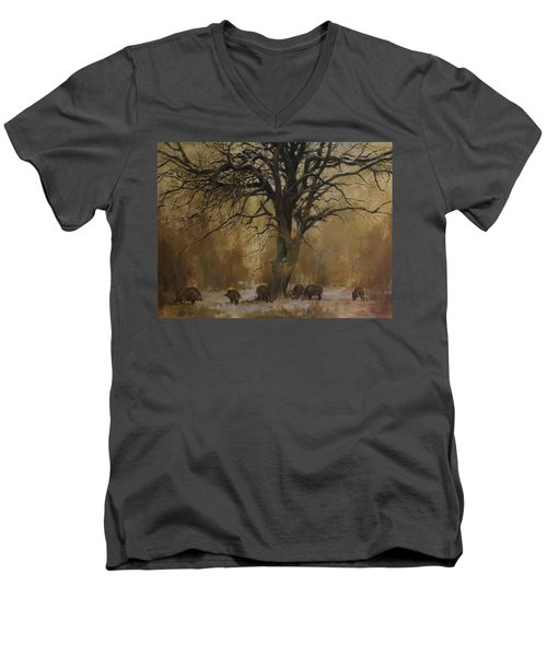 The Big Tree With Wild Boars Men's V-Neck T-Shirt