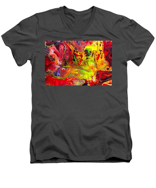 The Birth Of Diamonds - Abstract Colorful Mixed Media Painting Men's V-Neck T-Shirt by Modern Art Prints