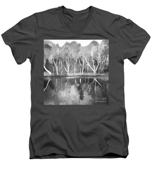 Men's V-Neck T-Shirt featuring the painting The Black And White Autumn by Art Ina Pavelescu