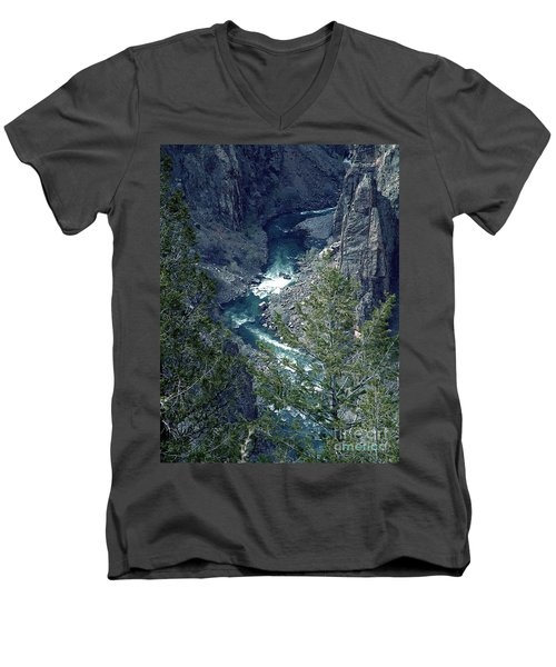 Men's V-Neck T-Shirt featuring the painting The Black Canyon Of The Gunnison by RC DeWinter