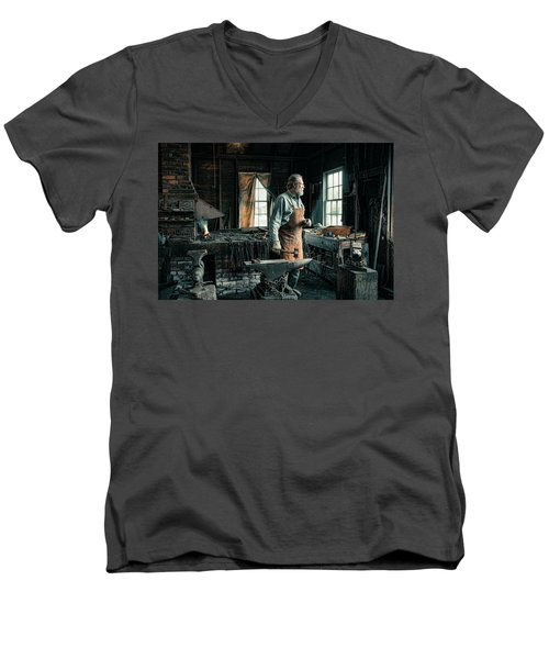Men's V-Neck T-Shirt featuring the photograph The Blacksmith - Smith by Gary Heller