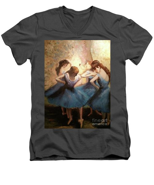 Men's V-Neck T-Shirt featuring the painting The Blue Ballerinas - A Edgar Degas Artwork Adaptation by Rosario Piazza