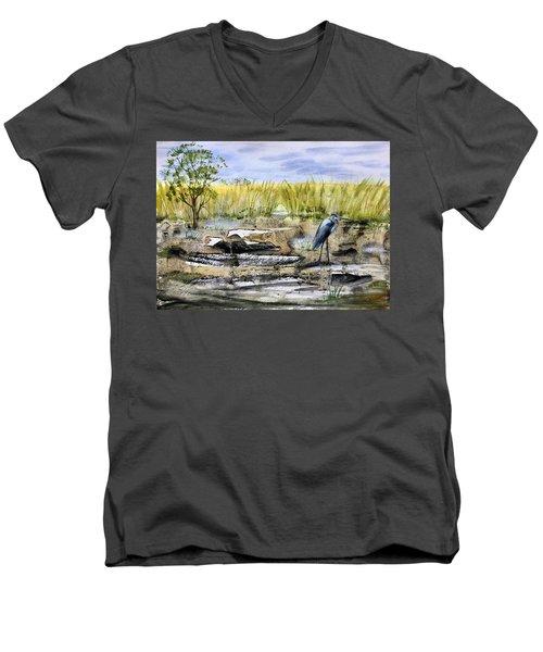 The Blue Egret Men's V-Neck T-Shirt