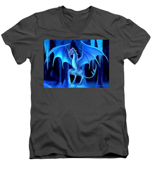 The Blue Ice Dragon Men's V-Neck T-Shirt by Glenn Holbrook