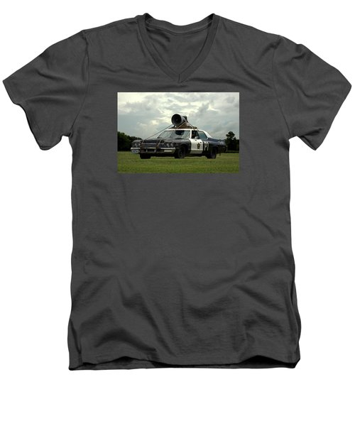 Men's V-Neck T-Shirt featuring the photograph The Bluesmobile by Tim McCullough