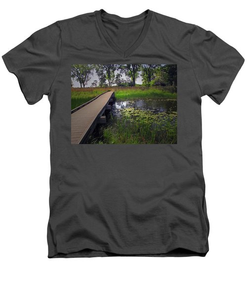 The Boardwalk Men's V-Neck T-Shirt by Cedric Hampton