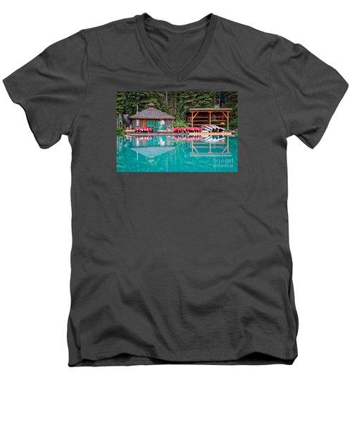 The Boat House At Emerald Lake In Yoho National Park Men's V-Neck T-Shirt