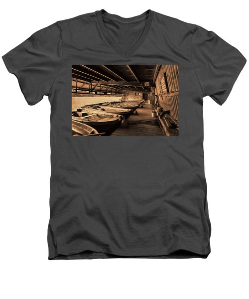 Men's V-Neck T-Shirt featuring the photograph The Boat House  by Scott Carruthers
