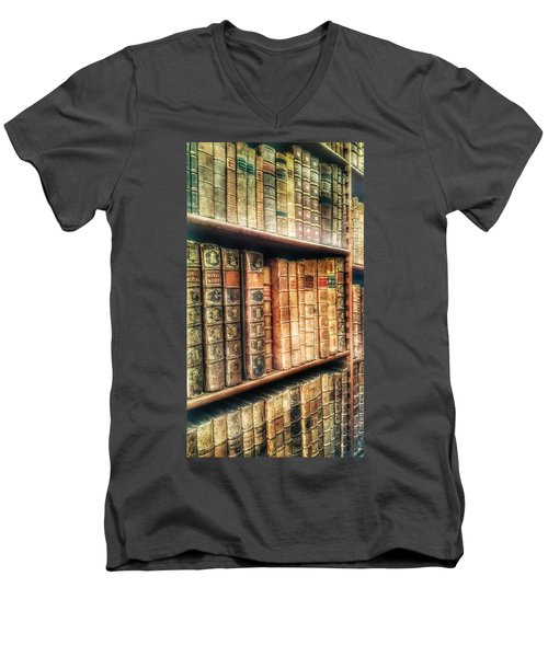 The Bookcase Men's V-Neck T-Shirt by Isabella F Abbie Shores FRSA