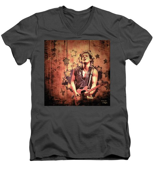 Men's V-Neck T-Shirt featuring the photograph The Boss 1985 by Paula Ayers