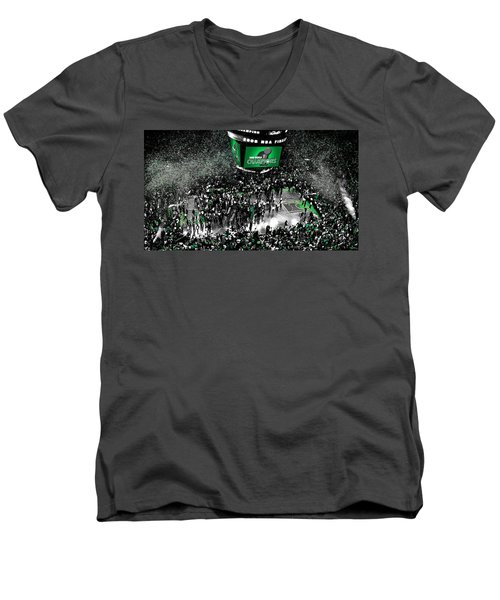The Boston Celtics 2008 Nba Finals Men's V-Neck T-Shirt by Brian Reaves